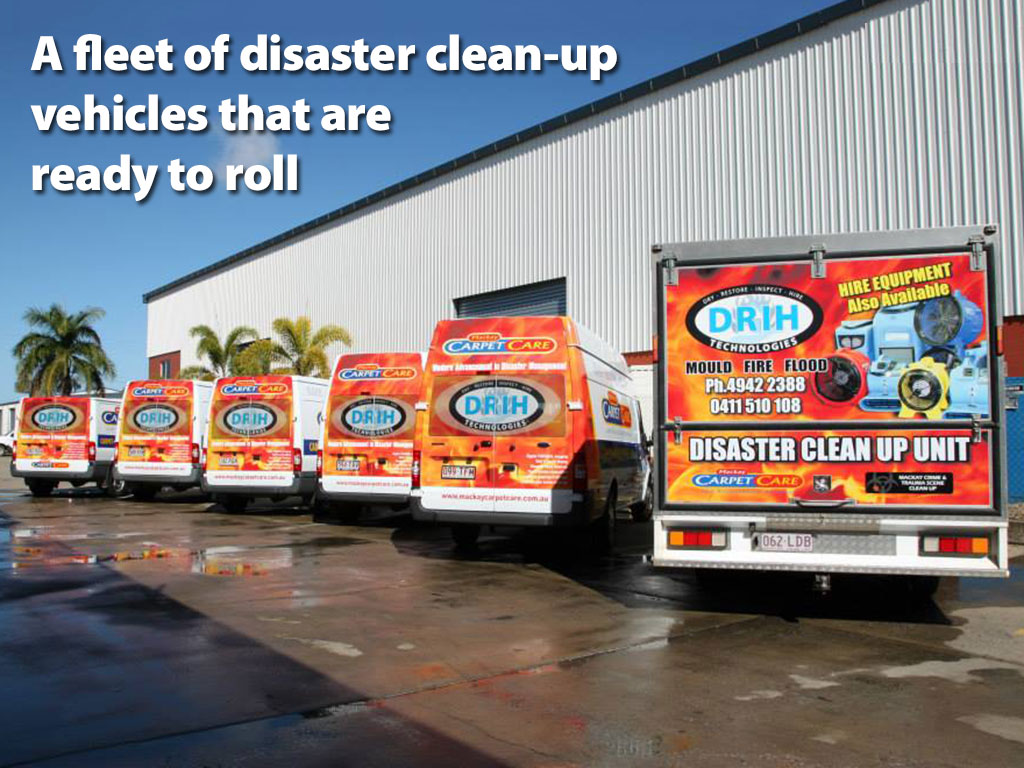 A fleet of disaster clean-up vehicles that are ready to roll