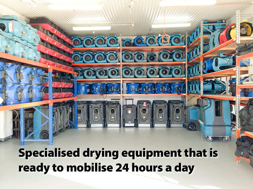 Specialised drying equipment that is ready to mobilise 24 hours a day